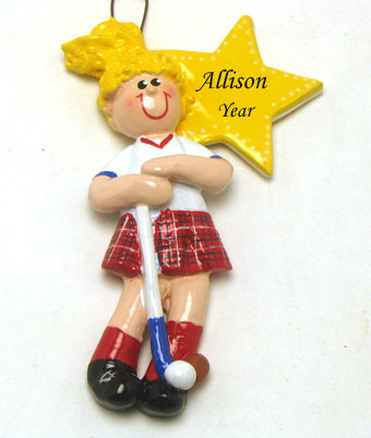 field hockey girl blonde hair personalized christmas ornament w painted finished back